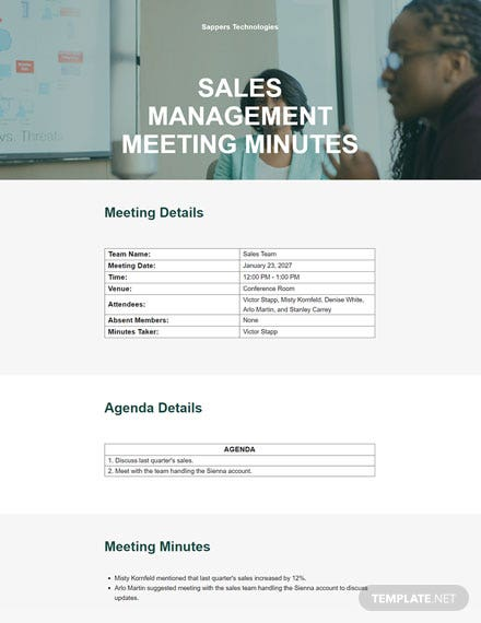 Management Meeting Minutes Format Template