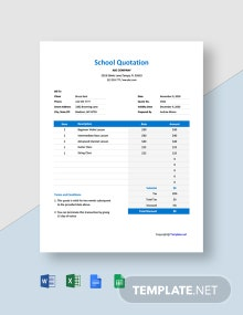 Free Blank School Quotation Template