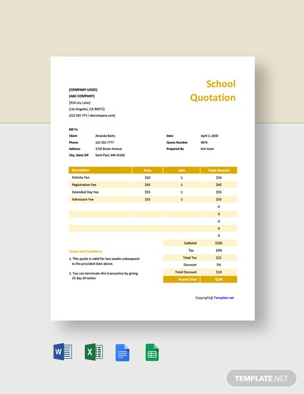 Free Sample School Quotation Template