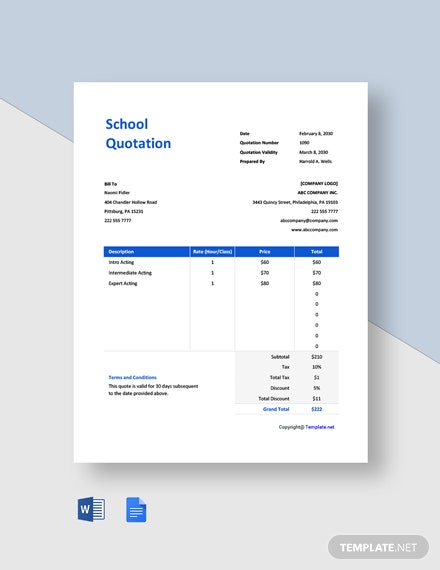 Free Simple School Quotation Template