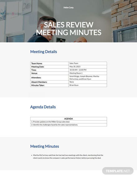 sales review meeting minutes
