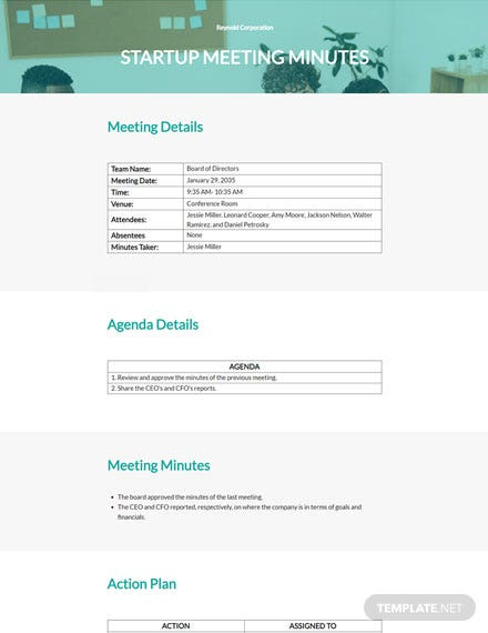 Sample Startup Meeting Minutes Template