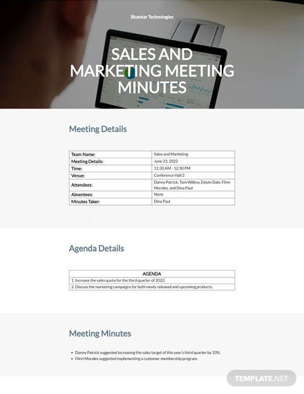 sales and marketing meeting minutes