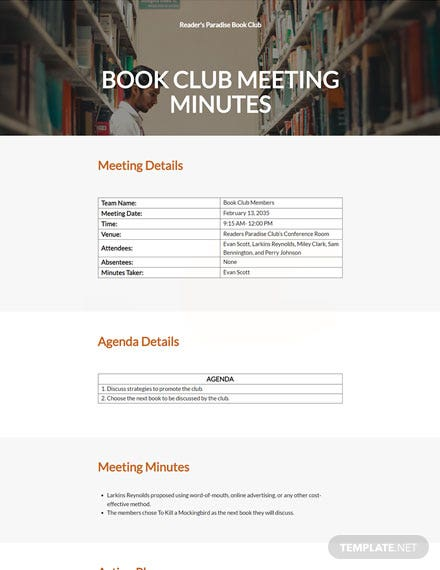 FREE sample book club meeting minutes
