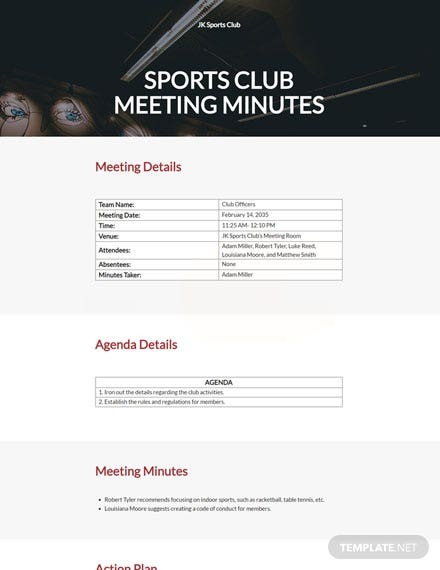 sports club meeting minutes