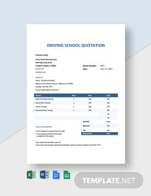 Driving School Quotation Template