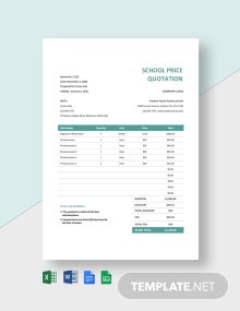 School Price Quotation Template