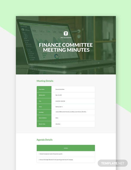 Finance Committee Meeting Minutes Template