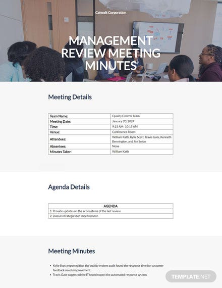 Quality Management Meeting Minutes Template