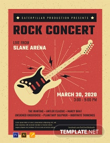 Free Live Rock Concert Poster Template
