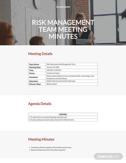Risk Management Meeting Minutes Template