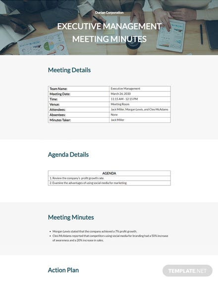 Business Sample Meeting Minutes Template