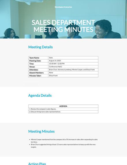 Sales Department Meeting Minutes
