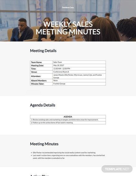 Weekly Sales Meeting Minutes