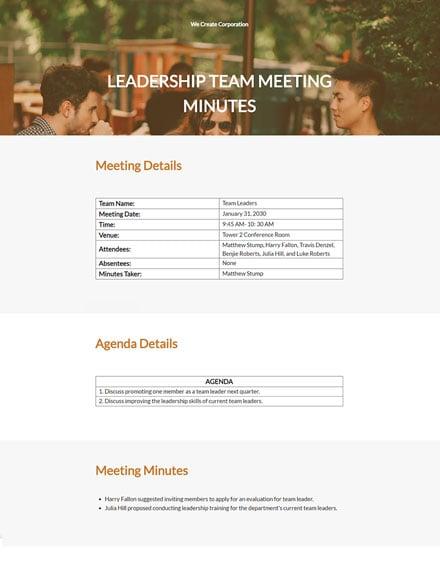 Leadership Team Meeting Minutes Template