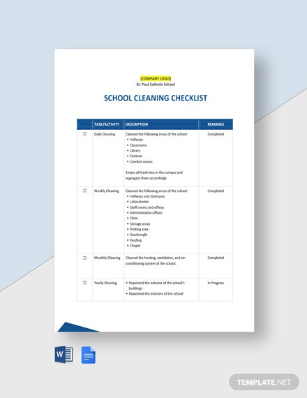 School Cleaning Checklist