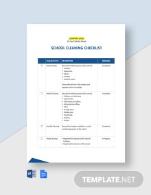 School Cleaning Checklist Template