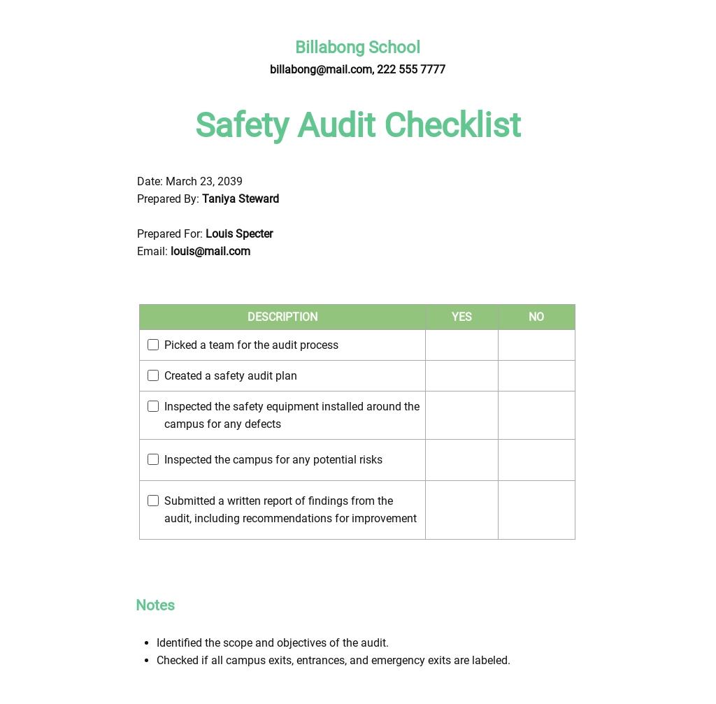 School Safety Audit Checklist Template