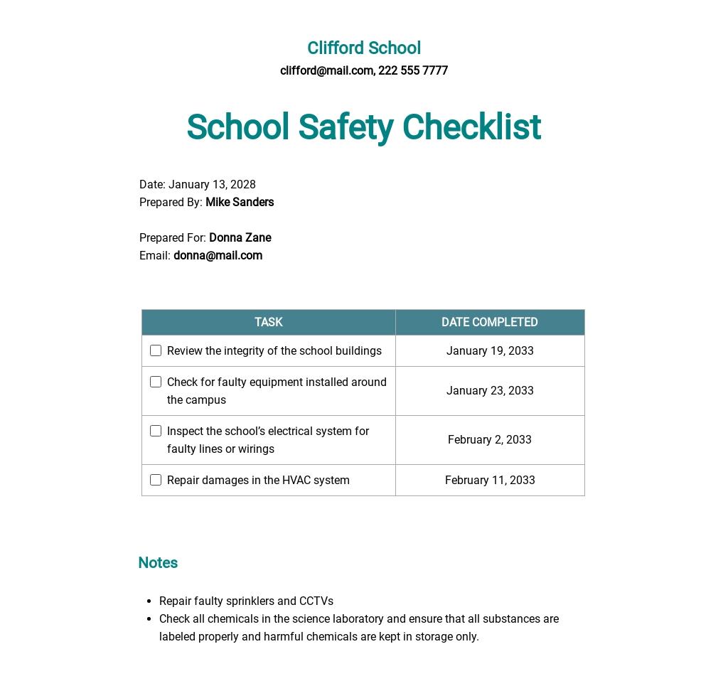 School Safety Checklist Template