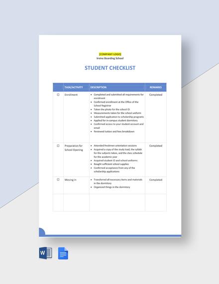 Editable Student Checklist Template