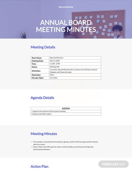 Small Business Annual Meeting Minutes