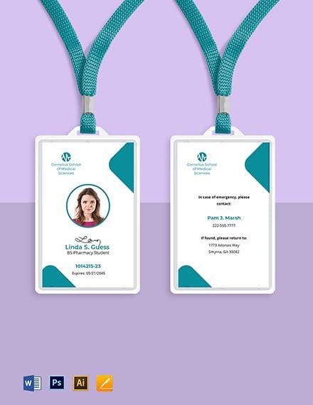 Pharmacy School ID Card Template