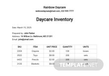 Free Daycare Inventory Template