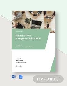Business Service Management White Paper Template