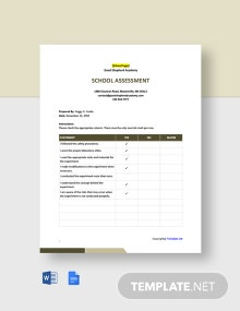 Free Simple School Assessment Template