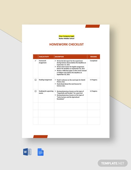 Editable Homework Checklist Template