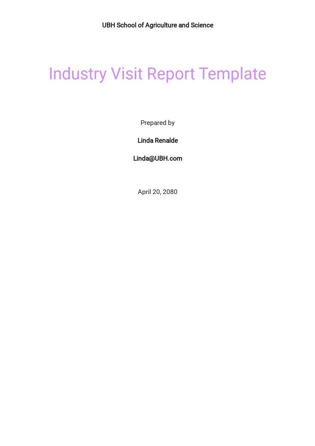 Free Industry Visit Report Template.jpe