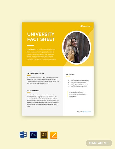 University Fact Sheet Template