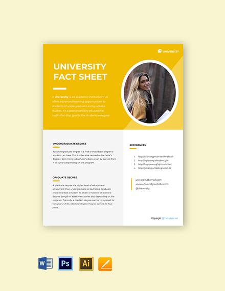 Free University Fact Sheet Template