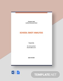 Free Sample School Swot Analysis Template