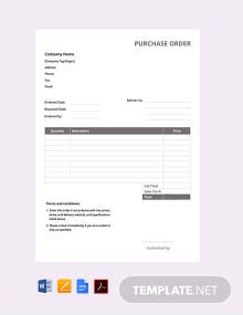 Free Simple Purchase Order Confirmation Template