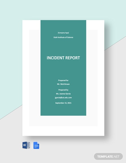 High School Incident Report Template