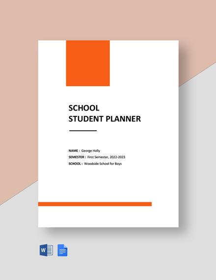 Free School Student Planner Template