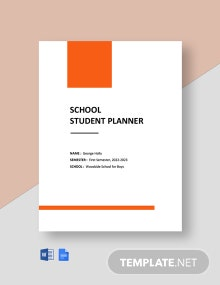 Free School Student Planner Template