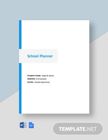 Editable Free Simple School Planner Template