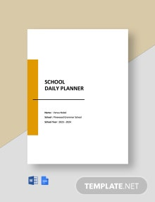 School Daily Planner Template