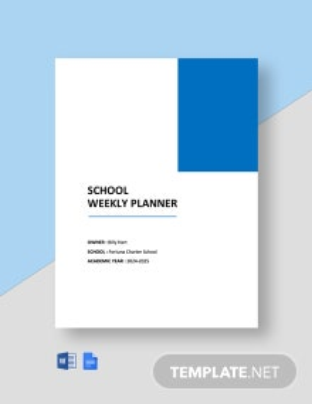 School Weekly Planner Template
