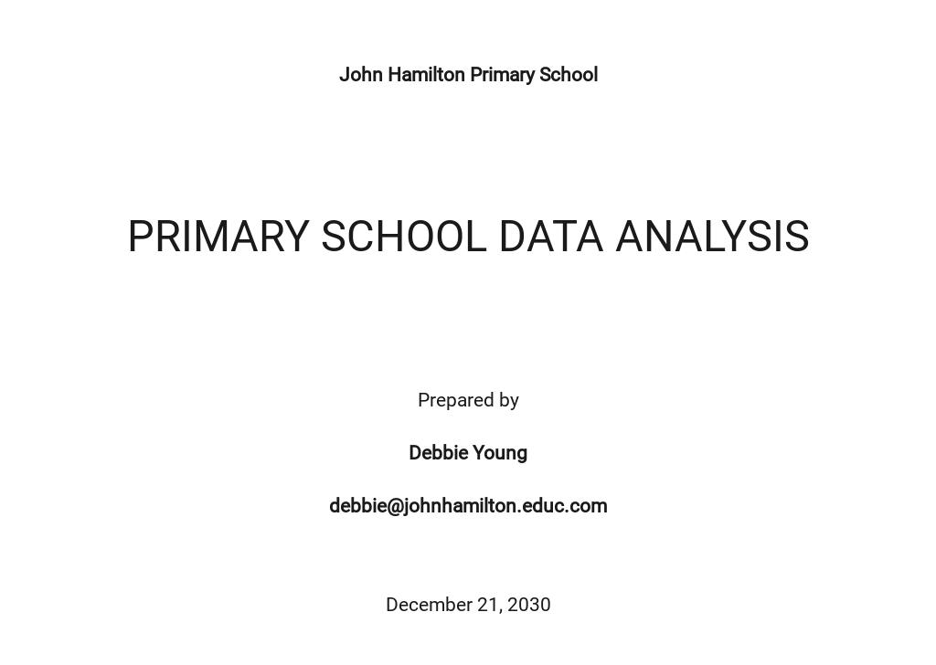 Primary School Data Analysis Template