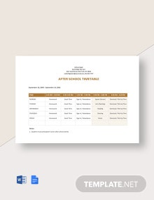 After School Timetable Template