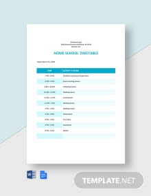 Home School Timetable Template