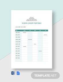 School Lesson Timetable Template