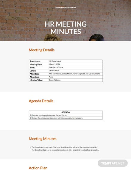 Free Basic HR Meeting Minutes Template