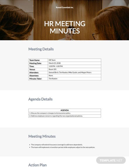 HR Department Meeting Minutes Template