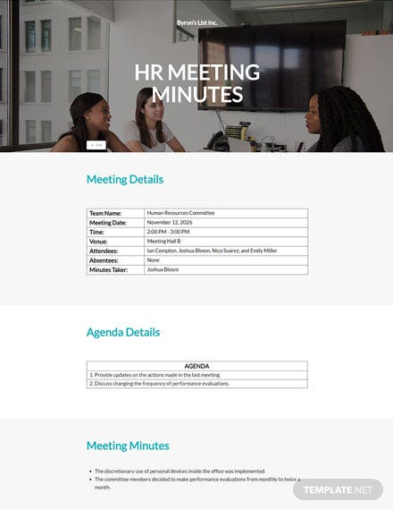 HR Committee Meeting Minutes Template