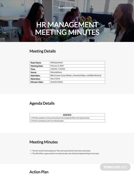 HR Management Meeting Minutes Template