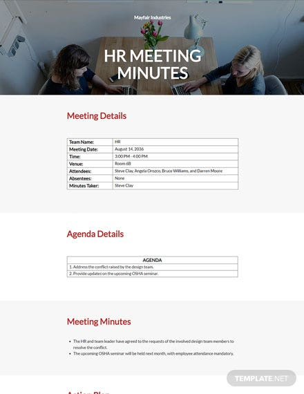 HR Team Meeting Minutes Template